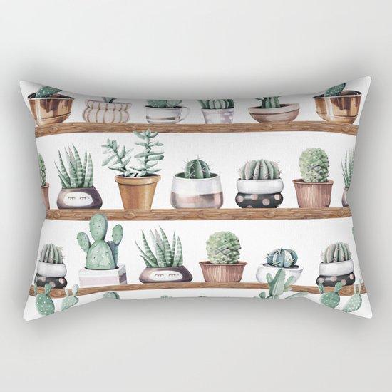 Cactus Shelf Rose Gold Green Rectangular Pillow by Nature