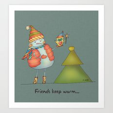 Friends keep warm - greyish Art Print