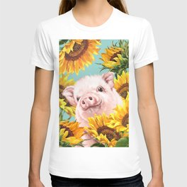 Baby Pig with Sunflowers in Blue T-shirt