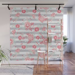 Elli - gender neutral florals grey stripe pattern modern nursery home decor Wall Mural