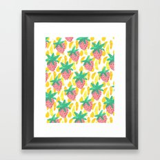 Pink Strawberries Framed Art Print