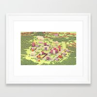 earthbound Framed Art Prints featuring EarthBound - Town of Onett [Day] by Timothy J. Reynolds
