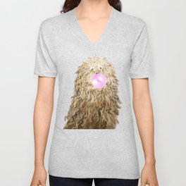 Puli Dog with Bubble Gum in Green Unisex V-Neck