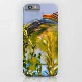 A snail crawls over a lensball iPhone Case
