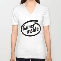 inside gaming V-neck T-shirts featuring Gamer iNSIDE by Blondie & Black Boy