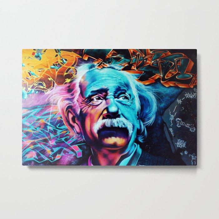 Urban Street Art: Albert Einstein Wall Mural Metal Print