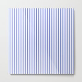 Small Vertical Cobalt Blue and White French Mattress Ticking Stripes Metal Print