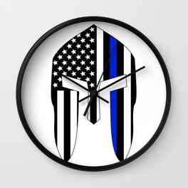Spartan Helmet USA Flag Thin Blue Line Wall Clock
