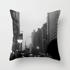 new york city in the rain  Throw Pillow