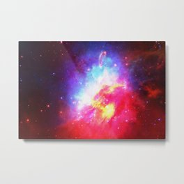 Blue Red Watercolor Nebula Metal Print
