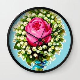 Retro Vintage Floral Bouquet Rose Lilies Wall Clock