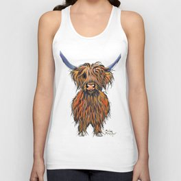 Scottish Highland Cow ' NED ' by Shirley MacArthur Unisex Tank Top