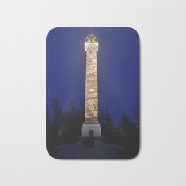 Astoria Column, blue hour fog Bath Mat