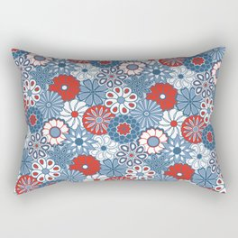 Cute Mid Century Modern Flowers - Red, White and Blue Rectangular Pillow