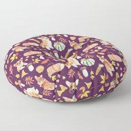 Welsh Corgi Dog Breed Fall Party -Cute Corgis Celebrate Autumn With Pumpkins Mushrooms Leaves - Dark Purple  Floor Pillow