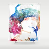 audrey hepburn Shower Curtains featuring Audrey Hepburn by Heaven7