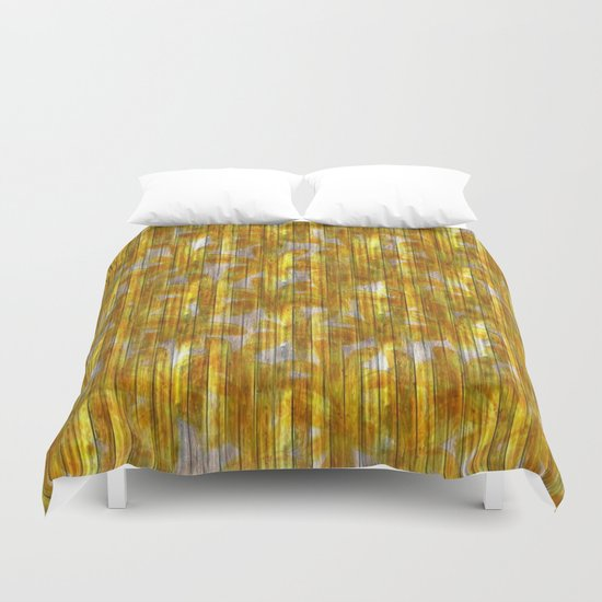 Paintely Wooden Orange and Yellow Flowers Duvet Cover