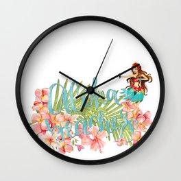 Aloha- Alohabeaches with tropical flowers Palm leaf and Hula Girl Wall Clock