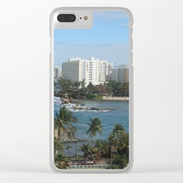 San Geronimo Fortress and view of Condado, San Juan, Puerto Rico Clear iPhone Case