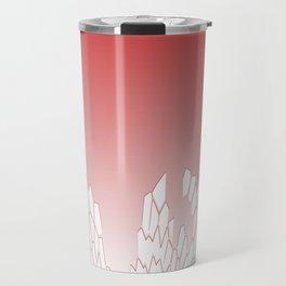 White Mosaic On Raspberry background Travel Mug