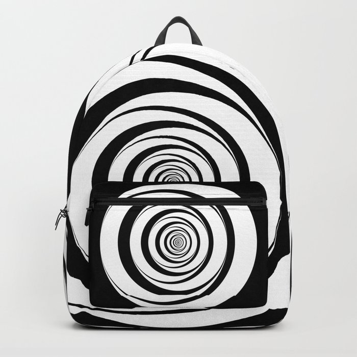 Black White Circles Optical Illusion Backpack