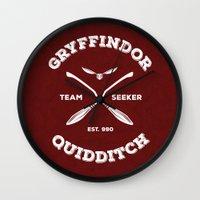 quidditch Wall Clocks featuring Gryffindor Quidditch by Sharayah Mitchell