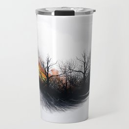 Fire Feather • Black Feather (horizontal) Travel Mug