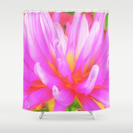 Fiery Hot Pink and Yellow Cactus Dahlia Flower Shower Curtain