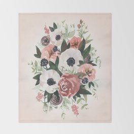 Anemone Berry Watercolor Bouquet Throw Blanket
