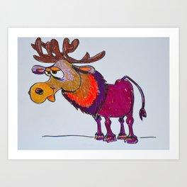 cartoon moose Art Print