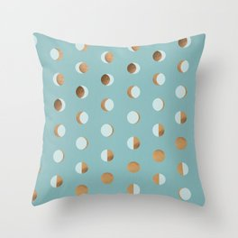The Lunar Cycle • Phases of the Moon – Copper & Robin's Egg Blue Palette Throw Pillow