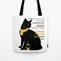 egyptian Tote Bags featuring Egyptian Cat by SwanniePhotoArt