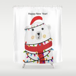 Polar bear with colorful light bulb. Happy new year greeting card Shower Curtain