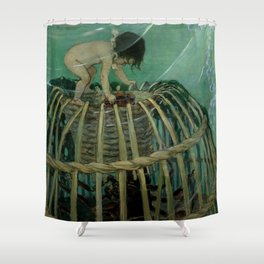 """Baby and the Lobster Trap"" by Jessie Willcox Smith Shower Curtain"