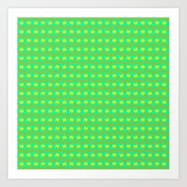 Copper Teeth Jagged Yellow on Turquoise Mint Green Modern Contemporary Design Pattern Art Print