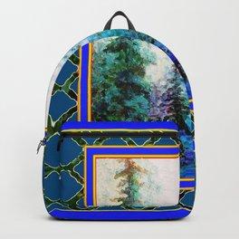 WESTERN  BLUE FOREST WATER COLOR TEAL PATTERN ART Backpack