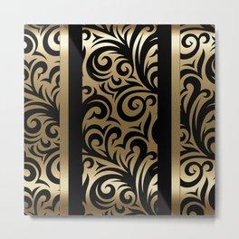 Gold and Black Swirl Pattern Metal Print
