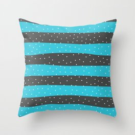 Christmas Simple seamless pattern Snow confetti on Grey and Pastel Blue Scuba Stripes Background Throw Pillow