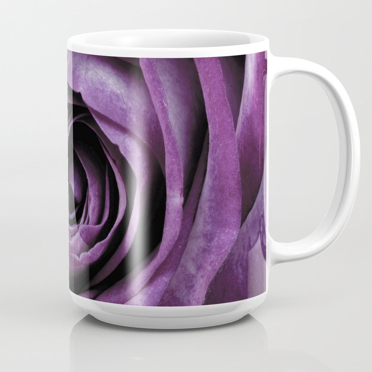 Purple Rose Decorative Flower Coffee Mug