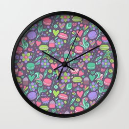 Macarons and flowers Wall Clock