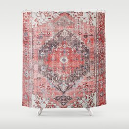 Vintage Anthropologie Farmhouse Traditional Boho Moroccan Style Texture Shower Curtain
