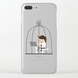 Employee Trapped In The Corporate Cage Clear iPhone Case