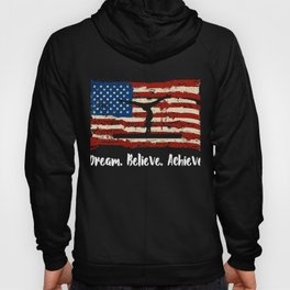 Awesome Patriotic American Gymnastics Gift Dream Believe Acheive Gymnastics Hoody