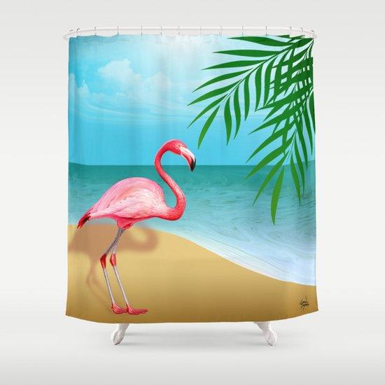 FLAMINGO BEACH Shower Curtain By Cheryl Daniels