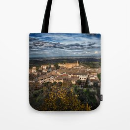 Landscape in the Tuscan hillside town of San Gimignano Tote Bag