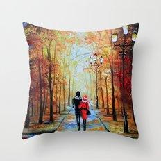 romantic autumn stroll Throw Pillow