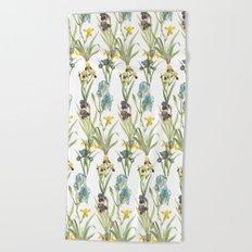 Vintage Floral Pattern | No. 2B | Iris Flowers | Irises Beach Towel