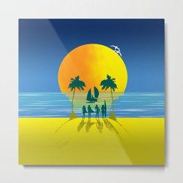 Beach Skull Metal Print