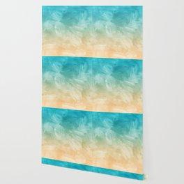 Beach Watercolor, Blue Beige Ombre, Coastal Decor Wallpaper