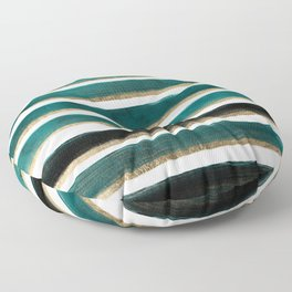 Modern hand painted emerald turquoise watercolor stripes gold geometric pattern Floor Pillow